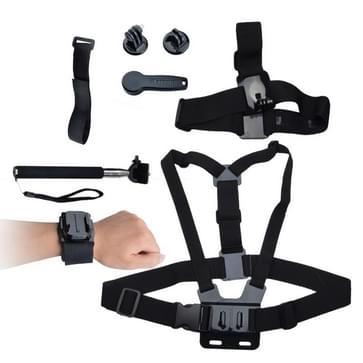 KT-116 7 in 1 B model borst harnas + elastische hoofdband + Telescoping handheld Pole + WiFi polsband + 1/4 statief adapter + verstelbare polsband + moersleutel