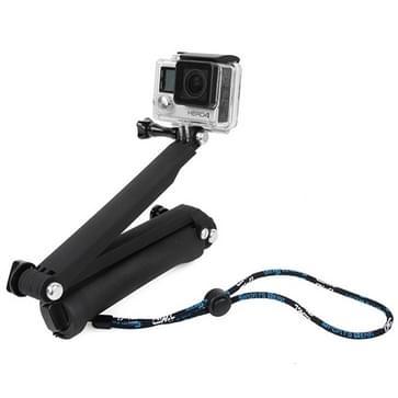 TMC 3-wegs handheld Monopod + Statief + polsband voor GoPro HERO (2018) 7 / 6 / 5 / 4 / 3+ / 3 / 2 / 1, SJ4000 (zwart)