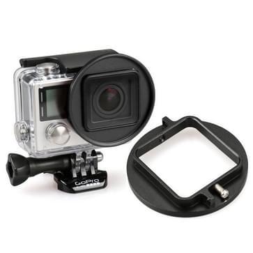 52Mm UV Lens Filter Adapter Ring voor GoPro HERO 4 / 3+ tuig Kooi hoes / caseHouder (zwart)