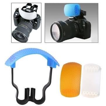 Pop-up Flash Soft Flash Diffuser Kit (White Diffuser / Blue Diffuser / Orange Diffuser / Diffuser Bracket)