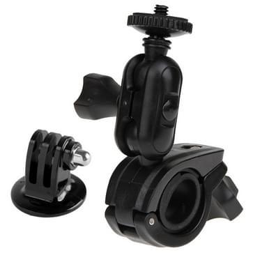 360 Graden draaibaar Motorfiets Fietsstuurhouder met schroeven & Statief Adapter voor GoPro HERO (2018) 7 / 6 / 5 / 4 / 3+ / 3 / 2 / 1