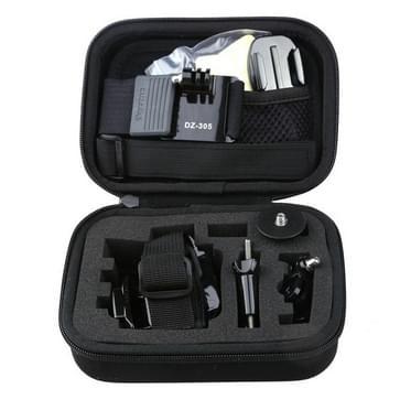 Dazzne 8 in 1 fiets Stuur + helm riem + 3-weg Pivot arm en 4 x schroeven + 2 x platte basis en 2 x gebogen basis met stickers + haak en lus bevestiger riem + draagbare koffer + 1/4 schroef adapter + polsband GoPro Hero 4/3 +/3/2 Accessoireset (KT-112)