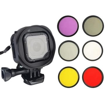 6 in 1 58mm ND2 Lens Filter + UV Lens Filter + rood Filter + FLD Filter + geel Filter + CPL Filter + Filter Adapter Ring Kitt voor GoPro HERO4 Session