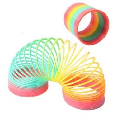 Klassieke Toy Caleidoscoop Rainbow Ring Folding Plastic voorjaar spoel speelgoed voor kinderen)