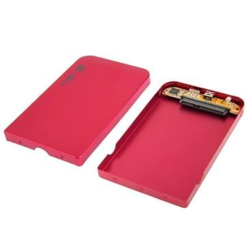Externe USB 2.0 behuizing voor 2.5 inch SATA HDD harde schijf, Afmetingen: 126 x 75 x 13 mm (rood)