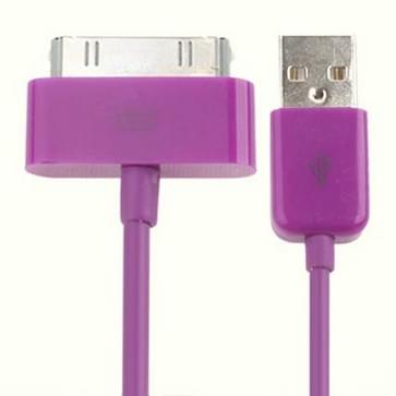USB Cable for iPhone 4 & 4S  iPhone 3GS/3G  iPad 2  iPod Touch  Length: 1m(Purple)