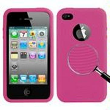 iPhone 4 & 4S Circkel structuur Siliconen back cover Hoesje (hard roze)
