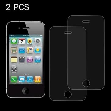 2 stk 0,26 mm 9H oppervlakte hardheid 2.5D Explosieveilig Tempered glas scherm Film voor iPhone 4 & 4S