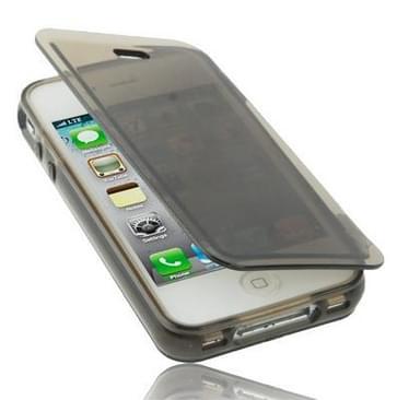 iPhone 4 & 4S horizontaal doorschijnend TPU Flip Hoesje (donker grijs)