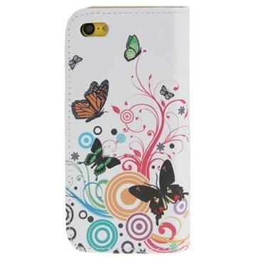 Muzikale vlinder patroon lederen draagtas met Credit Card Slots voor iPhone 5C