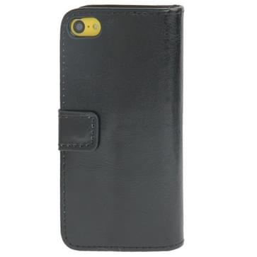 Crazy Horse Texture Leather Case with Credit Card Slot & Holder for iPhone 5C(Black)