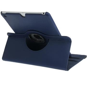 360 graden draaiend Litchi structuur lederen hoesje met 3 Gears houder & slaap / wekker functie voor iPad Air (donker blauw)