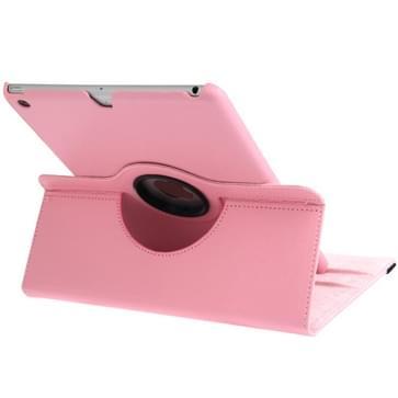 360 graden draaiend Litchi structuur lederen hoesje met 3 Gears houder & slaap / wekker functie voor iPad Air (roze)