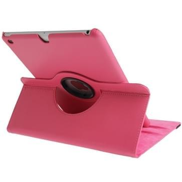 360 graden draaiend Litchi structuur lederen hoesje met 3 Gears houder & slaap / wekker functie voor iPad Air (hard roze)