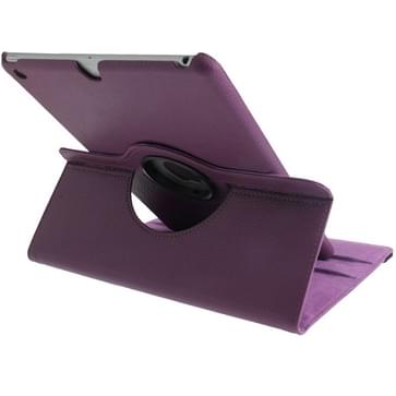 360 graden draaiend Litchi structuur lederen hoesje met 3 Gears houder & slaap / wekker functie voor iPad Air (paars)