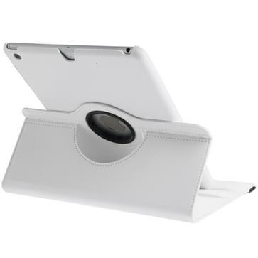 360 graden draaiend Litchi structuur lederen hoesje met 3 Gears houder & slaap / wekker functie voor iPad Air wit
