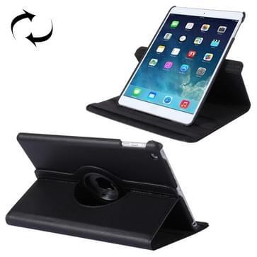 360 graden draaiend Litchi structuur lederen hoesje met 2 Gears houder voor iPad Air(zwart)