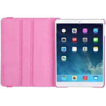360 graden draaiend Litchi structuur lederen hoesje met 2 Gears houder voor iPad Air(hard roze)