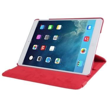 360 graden draaiend Litchi structuur lederen hoesje met 2 Gears houder voor iPad Air(rood)
