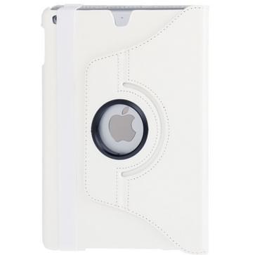 360 graden draaiend Litchi structuur lederen hoesje met 2 Gears houder voor iPad Airwit