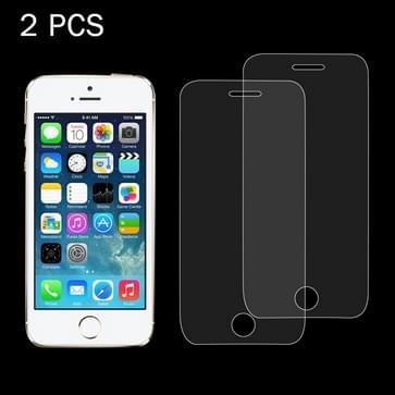 2 stuks voor iPhone SE & 5 & 5S & 5C 0,26 mm 9H oppervlakte hardheid 2.5D explosieveilige getemperd glas scherm Film