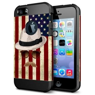 Flag and Straw Hat Pattern PC+TPU Colorful Armor Hard Case for iPhone 5