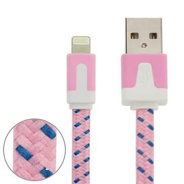 Geweven nylon stijl 8 Pin naar USB Data / laad kabel  Kabel lengte: 3 meter  Compatibel met IOS 8(roze)