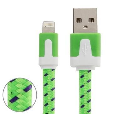 Geweven nylon stijl 8 Pin naar USB Data / laad kabel, Kabel lengte: 3 meter, Compatibel met IOS 8(groen)