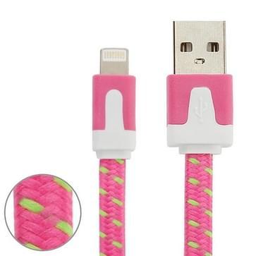 Geweven nylon stijl 8 Pin naar USB Data / laad kabel, Kabel lengte: 3 meter, Compatibel met IOS 8(hard roze)