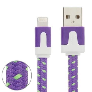 Geweven nylon stijl 8 Pin naar USB Data / laad Kabel, Kabel lengte: 3 meter, Compatibel met IOS 8(paars)