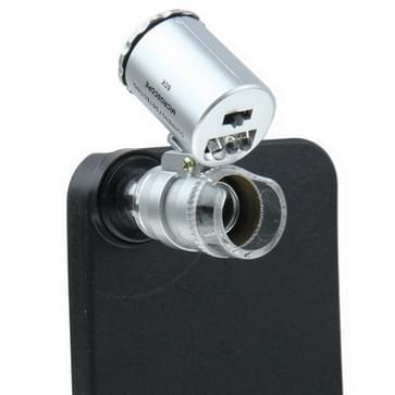 60 x zoom oproep telefoon Verplaatsbaar Microscoop met flits licht (wit  paars) + achterste cover voor iphone 5 & 5s(zwart)