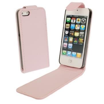 iPhone 5 & 5S vertikaal zacht PU leren Flip Hoesje (roze)