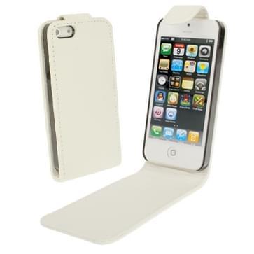 iPhone 5 & 5S vertikaal zacht PU leren Flip Hoesje Wit