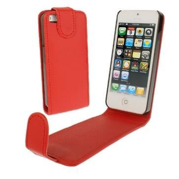 iPhone 5 & 5S vertikaal zacht PU leren Flip Hoesje (rood)