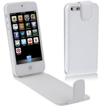 Vertikaal zacht lederen flip hoesje voor iPhone 5 & 5S Wit