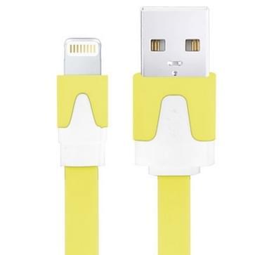 Platte Noodle Stijl USB Sync Data / laad Kabel voor iPhone 6 / 6S & 6 Plus / 6S Plus, iPhone 5 & 5S & 5C, iPad Air, iPad mini, mini 2 Retina, Kabel Lengte: 1 meter (geel)