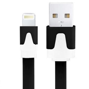 Platte Noodle Stijl USB Sync Data / laad Kabel voor iPhone 6 / 6S & 6 Plus / 6S Plus, iPhone 5 & 5S & 5C, iPad Air, iPad mini, mini 2 Retina, Kabel Lengte: 3 meter (zwart)