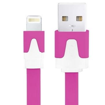 Platte Noodle Stijl USB Sync Data / laad Kabel voor iPhone 6 / 6S & 6 Plus / 6S Plus, iPhone 5 & 5S & 5C, iPad Air, iPad mini, mini 2 Retina, Kabel Lengte: 3 meter (paars)
