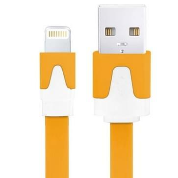 Platte Noodle Stijl USB Sync Data / laad Kabel voor iPhone 6 / 6S & 6 Plus / 6S Plus, iPhone 5 & 5S & 5C, iPad Air, Kabel Lengte: 3 meter (Oranje)