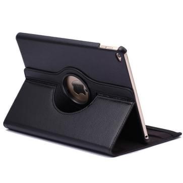 360 graden draaiend Litchi structuur Flip lederen hoesje met 2 Gears houder voor iPad Air 2(zwart)