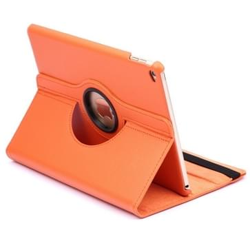 360 Degree Rotation Litchi Texture Flip Leather Case with 2 Gears Holder for iPad Air 2(Orange)