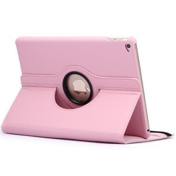 360 graden draaiend Litchi structuur Flip lederen hoesje met 2 Gears houder voor iPad Air 2(roze)