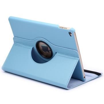 360 graden draaiend Litchi structuur Flip lederen hoesje met 2 Gears houder voor iPad Air 2(blauw)