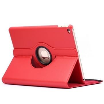360 graden draaiend Litchi structuur Flip lederen hoesje met 2 Gears houder voor iPad Air 2(rood)