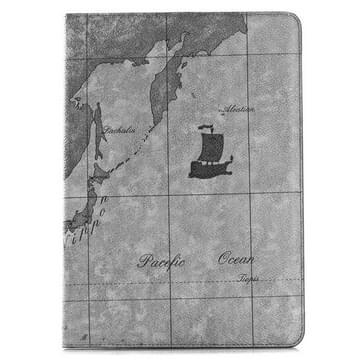 Retro Wereldkaart patroon lederen hoesje met houder & opbergruimte voor pinpassen & portemonnee voor iPad Air 2, (grijs)