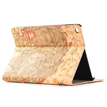 Retro Wereldkaart patroon lederen hoesje met houder & opbergruimte voor pinpassen & portemonnee voor iPad Air 2, (geel)