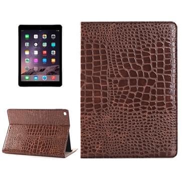 krokodil structuur horizontaal Flip lederen hoesje met houder & opbergruimte voor pinpassen & portemonnee voor iPad Air 2(bruin)