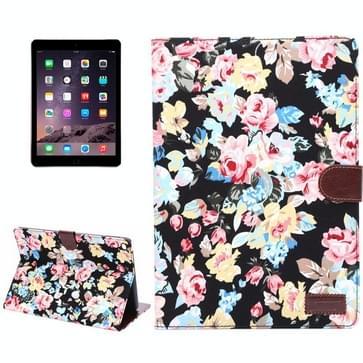 Bloemen patroon lederen hoesje met houder &opbergruimte voor pinpassen & slaap functie voor iPad Air 2(zwart)