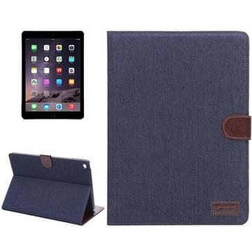 Denim Style lederen hoesje met houder & opbergruimte voor pinpassen & slaap functie voor iPad Air 2(zwart)