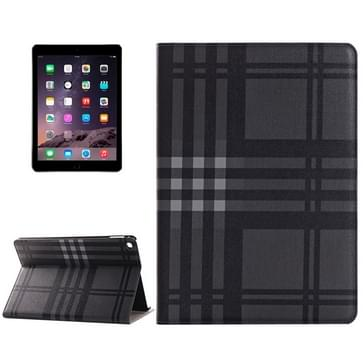 Plaid structuur lederen hoesje met houder & opbergruimte voor pinpassen & Money Pocket voor iPad Air 2(zwart)